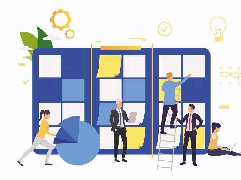 Team working on startup. Note board, diagram, scrum meeting. Business concept. Vector illustration can be used for presentation slides, landing pages, posters